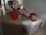 Red round Ottomans set 4 + white table